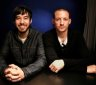 Recording artists Mike Shinoda, left, and Chester Bennington pose for a portrait Thursday, Sept. 16, 2010 in New York.   (AP Photo/Jeff Christensen)